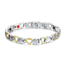 Cute Women's Silver&Gold Magnetic Health Therapy Care Titanium Steel Bracelet