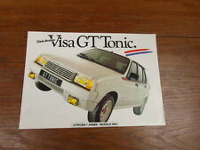 AUTOMOBILE BROCHURE CATALOG SALES CATALOGUE : CITROEN VISA GT TONIC 1984