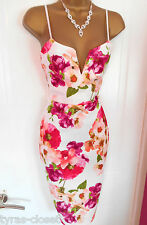 Ivory Pink Floral Pencil Wiggle Cocktail Wedding Races Party Dress Size 12 BNWT