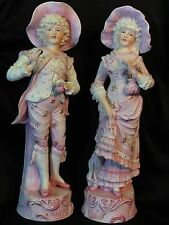 "Huge 16.5"" Pair Antique German Bisque Porcelain Figurines Boy Girl Coin Purse"