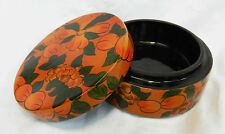Vintage Hand Painted Chinese Lacquered Wooden Box / Powder Box c 1960s