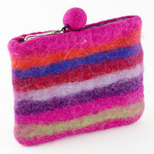 Felt So Good Wool Felt Pink Stripe Purse