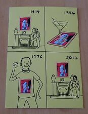 PLAYING TO THE GALLERY POSTCARD  '1914, 1954, 1976, 2014' BY GRAYSON PERRY ~ NEW
