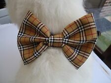 BURNS NIGHT / SPECIAL OCCASION / GIFT-TAN TARTAN - DOG BOW TIE /COLLAR ACCESSORY