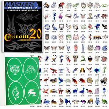 SET 20 BOOK 110 Reusable Airbrush Temporary Tattoo Stencil Art Designs Templates