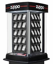 Zippo Display Case Holds 60 Zippo Lighters Motion and Light with Lock - NEW!
