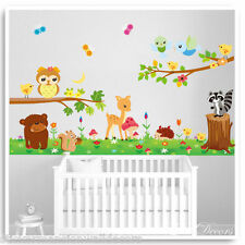 Owl Animal Wall Stickers Jungle Zoo Nursery Baby Bedroom Kids Decals Mural Art