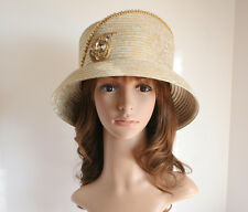 2014 NEW Church Derby Wedding Cloche Satin & Rhinestone Hat Gold