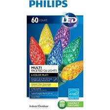 New ! 60ct Philips LED Faceted C6 Lights Multi-color Green Wire indoor Outdoor