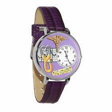 Nurse 2 Purple Watch in Silver (Large)