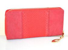 PORTAFOGLIO ROSSO borsello zip oro donna pelle portamonete borsellino clutch A14