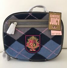 New! JUICY COUTURE School Insulated Lunch Bag / Box Check Navy Blue Pink