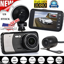 Dual Lens Camera 1080P Car DVR Vehicle Video Dash Cam Recorder G-Sensor 4'' US