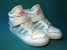 ADIDAS ADI-RISE Kids' White Leather Hi-Top Trainers UK Size 1/ EU Size 33