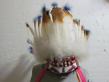 NATIVE AMERICAN BEADED CHIEFTAN HEADRESS BEADWORK 23 INCHES AROUND REAL FEATHER