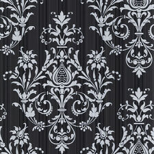 CS27361 -244A  NORWALL  Classic Silks  Black SILVER VINYL Wallpaper NEW