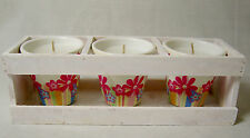 AMBRIA Shabby Chic 3 Wax Filled Floral Pots Candles in Handmade Wooden Gift Set