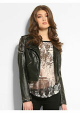 NWT GUESS $158!! Faux Leather Cropped Moto Studded Jacket Black S 4 5