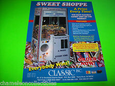 SWEET SHOPPE BY CLASSIC ORIGINAL CLAW CRANE REDEMPTION ARCADE GAME SALES FLYER