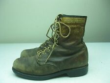 BROWN DISTRESSED MADE IN USA WOLVERINE LACE UP PACKER FARM WORK BOOTS 8/8.5 M