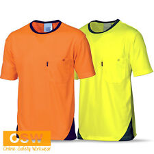 HI VIS YELLOW/ORANGE COOL DRY COOL BREATHE MICROMESH TEE SHIRT T-SHIRT WORKWEAR