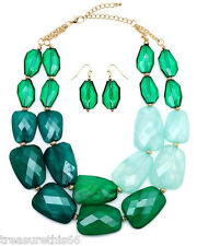 Beaded Sea Green Ombre Gradiated Faceted Pebble Bead Statement Necklace