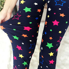 ARCOBALENO Stelle Blu Extra Soft Leggings 8-12 UK, kawaii, carino, dolce, CANDY,
