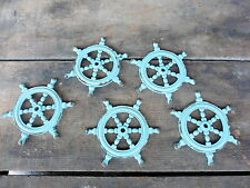 BOAT SHIP TEAL BLUE SHIP WHEEL KNOB BASE ~ SEA NAUTICAL BOATING HOME DECOR