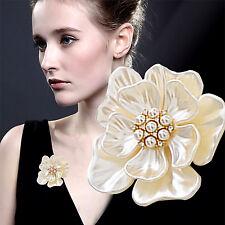 Elegant Gold Flower Pearl Rhinestone Crystal Wedding Bridal Bouquet Brooch Pin A