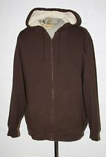 LL Bean Katahdin Iron Works Brown Lined Full Zip Hoodie Hooded Sweatshirt L TALL