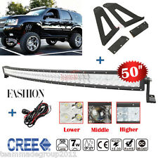 5D 50inch 672W CREE Curved LED Light Bar Mount Brackets Fit For Jeep Cherok