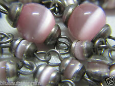 † RARE ONE OF KIND UNIQUE VINTAGE STERLING DOUBLE CAPPED PINK ROSARY ROSARIO †