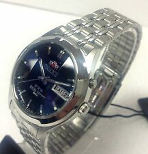 Orient Blue Dial Men's Faceted Cut Crystal  Automatic Silver Watch orient Box