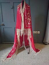Antiguo/Vintage 1920s? Rojo cantón florales bordados Seda Chal De Piano