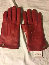 NWT Coach Red Leather Gloves with Merino Wool Lining Size 8 Medium Womens 85876