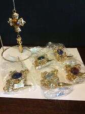 Bombay Gold Jewelry Christmas Ornament Set Of 6 Plastic Different Colors