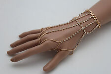 Women Gold Metal Hand Chains Wrist Bracelet Connect Slave Rings 5 Long Fingers