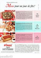 PUBLICITE ADVERTISING 036  1965  Pyrex  plats  ligne Hotesse