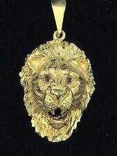 10K Yellow Gold Diamond Cut Lion Head Charm Pendant with Ruby Eyes 9.2 grams