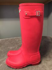 HUNTER ORIGINAL TALL WELLINGTON RAIN BOOTS BRIGHT CORAL / PINK Wellies US Sz 8