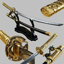 Gold Tachi Fittings High Carbon Steel Sword Japanese Samurai Katana cut bamboo