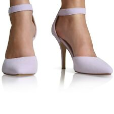 LADIES WOMENS ANKLE STRAP POINTED TOE PARTY HIGH HEEL COURT SHOES SIZE 3-8