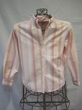 Misses L.L. BEAN Pink Striped Long Sleeve Button Down Shirt PXS 38""