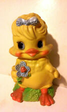"VINTAGE 1974 LARGE YELLOW EASTER CHICK PLASTIC BANK RUSS BERRIE CO.  9"" tall."