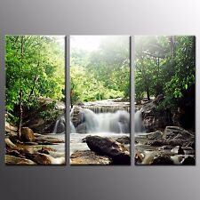 FRAMED Landscape Canvas Print Green Trees Waterfall Wall Art Painting Print-3pcs