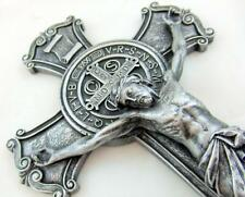 "NEW St Benedict Wall Cross Silver Tone Crucifix Home Protection Gift 10"" by MRT"