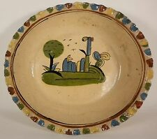 """Vintage 12"""" MEXICAN Tlaquepaque Tourist Sleeping Campesino Pottery Serving Bowl"""