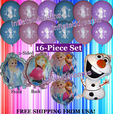 16 Pc. FROZEN Balloon Set PRINCESS ELSA ~ ANNA ~ OLAF Mylar Foil Birthday Party