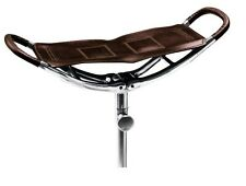 HAND MADE BLACK LEATHER SHOOTING STICK FOLDING SEAT CANE SHOWS CHAIR STOOL