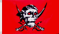 5' x 3' Red Pirate Flag Crimson Skull and Crossbones Jolly Roger Party Banner